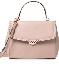 New michael kors ava top handle satchel bag leather soft pink scalloped trim bag