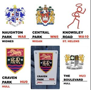 Retro Rugby League Crest Metal signs Hull FC Hull KR Wigan Widnes St. Helens