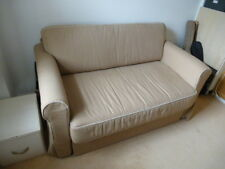 IKEA HAGALUND Two-seat sofa-bed - Beige with Cream Piping