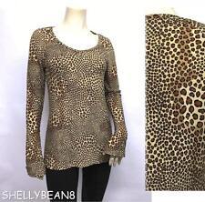 NORMA KAMALI Stretch Jersey 6% Spandex ANIMAL LEOPARD Print Top Shirt Blouse L M