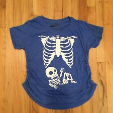 Maternity Baby Boy Skeleton Cute Halloween Pregnancy Bump T-shirt Size Large