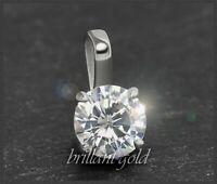 Diamant 585 Gold Brillant Anhänger mit 0,73 ct, F, Si2; 14 Karat Weißgold NEU
