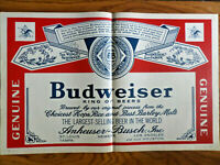 1965 Budweiser Beer Ad  King of Beers   Large Label Ad