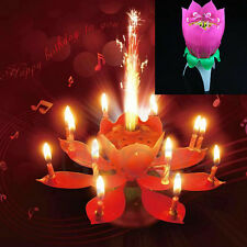 US Cute Lotus Candle Birthday Flower Magic Musical Rotating Floral Cake Candles