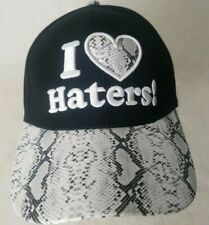 I Love Haters! Faux Snakeskin Snapback Embroidered White & Black Hat Cap