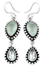 Aqua Chalcedony Blue Topaz Earrings Solid 925 Sterling Silver Jewelry IE20911