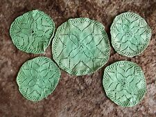 VINTAGE SET OF 5 LEAF GREEN HAND KNITTED MATS FADED 1960s **GC**