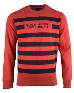 Tommy Hilfiger Sweatshirt Men's Denim Graphic NY Crew Neck Long Sleeve Red/Blue