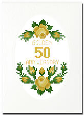 GOLDEN (50) ROSES ANNIVERSARY CROSS STITCH CARD KIT