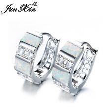 Elegant Stripe White Fire Opal Zircon Hoop Earrings 925 Silver Wedding Jewelry