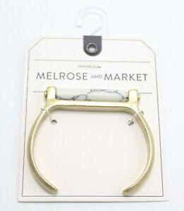 New Gold Cuff Bracelet with Genuine Howlite Stone by Melrose & Market #B1287
