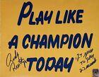 RUDY RUETTIGER Signed RARE INSCRIPTION! GOLD 8x10 PLAY LIKE A CHAMPION HOLOGRAM