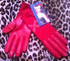 FRENCH 1950s WOMAN RED STRETCH GLOVES~DRIVING STYLE~MADE IN FRANCE~NEW/OLD STOCK