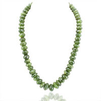 FABULOUS RARE 782.00 CTS NATURAL GREEN GARNET ROUND CUT BEADS NECKLACE (DG)