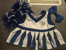 Build-a-Bear Workshop Babw blue white Cheerleader Dress poms bow cheer costume