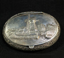 Antique Sterling Silver Snuff Tobacco Trinket Box Windmill Scene Lid Holland