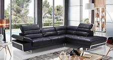 ESF 2347 Black Contemporary Modern Leather Sectional Sofa
