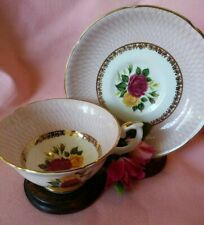 Vintage Royal Grafton Red/Yellow Roses Bone China Tea Cup & Saucer Set