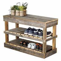 Rustic Farmhouse Shoe Bench Reclaimed Wood Display Storage Organizer Shelf Gray
