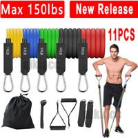 Update11 PCS Resistance Bands Fitness Tube Workout Set Yoga Pilates Abs Exercise