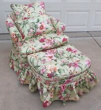 Vintage floral upholstered armchair & matching ottoman