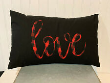 LOVE plaid  on black 12 x 20 Accent Cotton Lumbar Pillow Cover