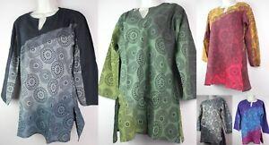 HANDMADE Pattern Cotton Retro Shirt Kurta Top Festival Boho Flower Hippie S22