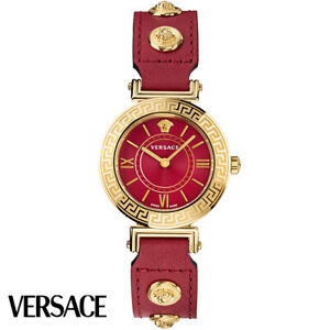 Versace VEVG00620 Tribute gold red Leather Women's Watch NEW