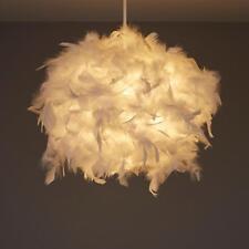 Ball Light Shade White Feather Ceiling Lighting 25cm Diameter Living Room NEW
