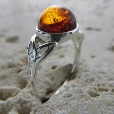 Size 9 1/4, Size S, Size 60, Cognac Celtic BALTIC AMBER Ring, 925 SILVER #1811