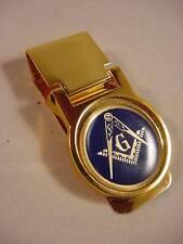 MASON MASONIC GOLD PLATED MONEY CLIP BOXED NEW