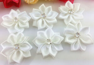 DIY 100PCS Satin Ribbon Flower with Crystal Bead Appliques~wedding/Craft/Trim