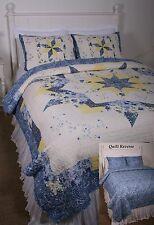 Queen Quilt Jardiniere Blue White Yellow Starburst Print Cotton