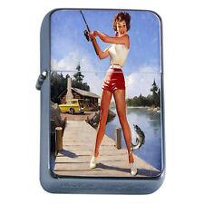 Windproof Refillable Fliptop Oil Lighter Classic Vintage Model Pin Up Girl D-154