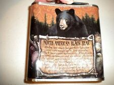AMERICAN TERRITORY 6 OZ HIP FLASK W/BLACK BEAR GREAT FOR DAD'S DAY GIFT