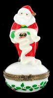 "VINTAGE PORCELAIN SANTA CLAUS TRINKET BOX CHRISTMAS HOLIDAY RELIGIOUS 3"" CUTE!"