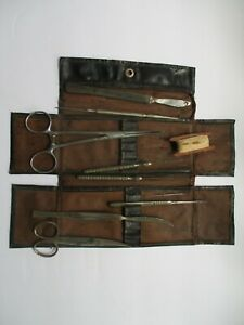 Antique German Instruments Dissecting Kit Scalpels Teasing Needle Probes Forceps
