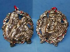 2 Michael Ricker Pewter Christmas Ornaments Limited Edition Holy Family & Angel