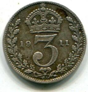 1911 Solid Sterling Silver Threepence George V UK Great Britain C151