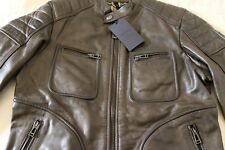 Belstaff Classic Weybridge Leather Jacket in Dark Olive/IT 44 or UK XS