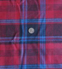 "Cotton Flannel Fabric Tartan Plaid RED BLUE BLACK 64""Wide x 3 Yds"