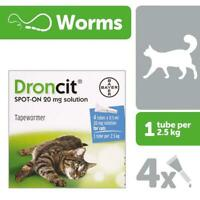 DRONCIT VERMIFUGE SPOT-ON TRAITEMENT CHAT 4 PIPETTES DE 2.5 a 5 KG cat katze