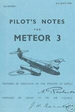 GLOSTER METEOR , PILOT'S NOTES, 3 DIFFERENT VERSIONS