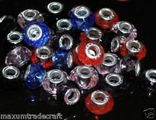 50pcs mulit-coloured Crystal Glass Charm Perline FIT europeo Serpente Catena