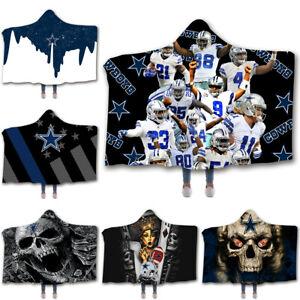 Dallas Cowboys Hooded Blanket Winter Fleece Throw Cloak Wearable Print Blankets