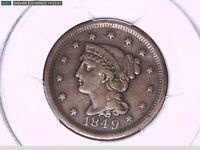 1849 Large Cent PCGS Genuine Scratch - VF Details 29541743 Video
