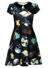 Gothic Bats On The Moon, Skulls, Pentagram, Coffin Halloween Bat Collar Dress