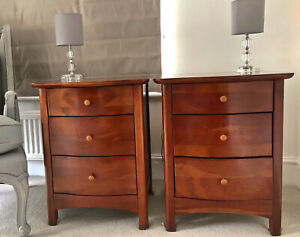 Pair Of Willis And Gambier Cherry Wood Bedside Tables Drawers Matching