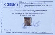 italia regno 1945 trieste 20c.+1lira su 5c.varietà certificato cilio