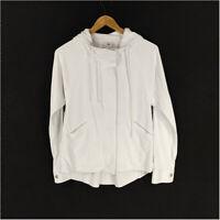 Cabi Soho Hoodie Jacket White Women's Small  Long Sleeve Drawstring Rayon 5152